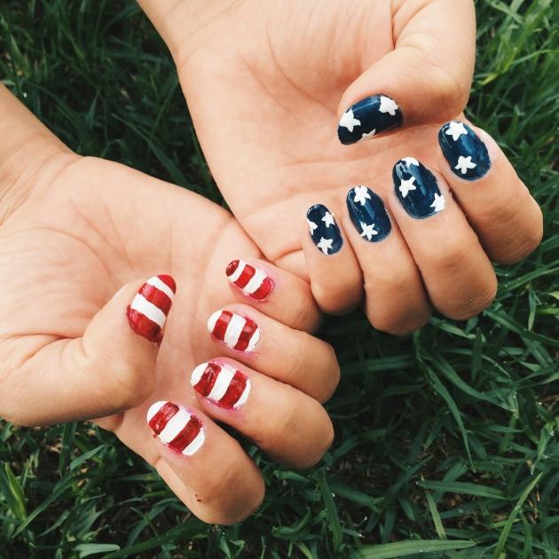 4th of July Americana Flag Nail Art
