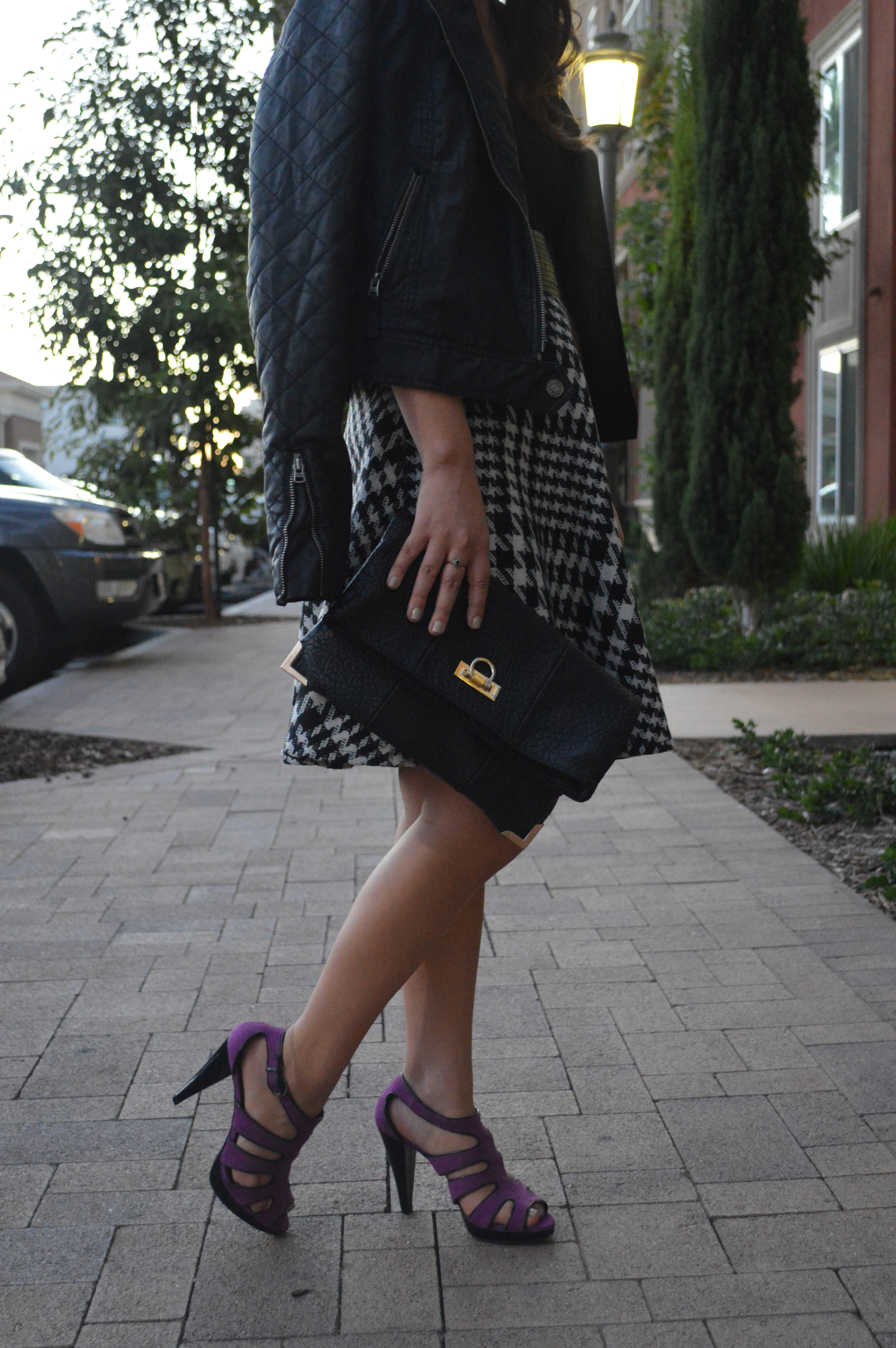 eShakti customized houndstooth skirt on Ciera Chang from WorldWideStylista