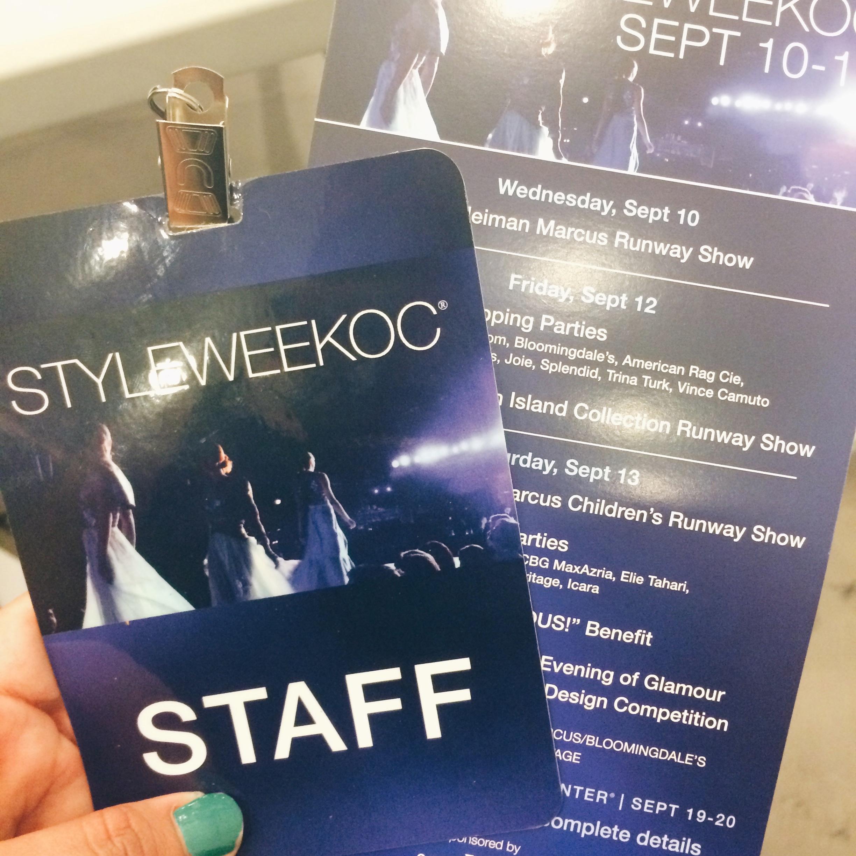 Style Week OC 2014 Staff Pass