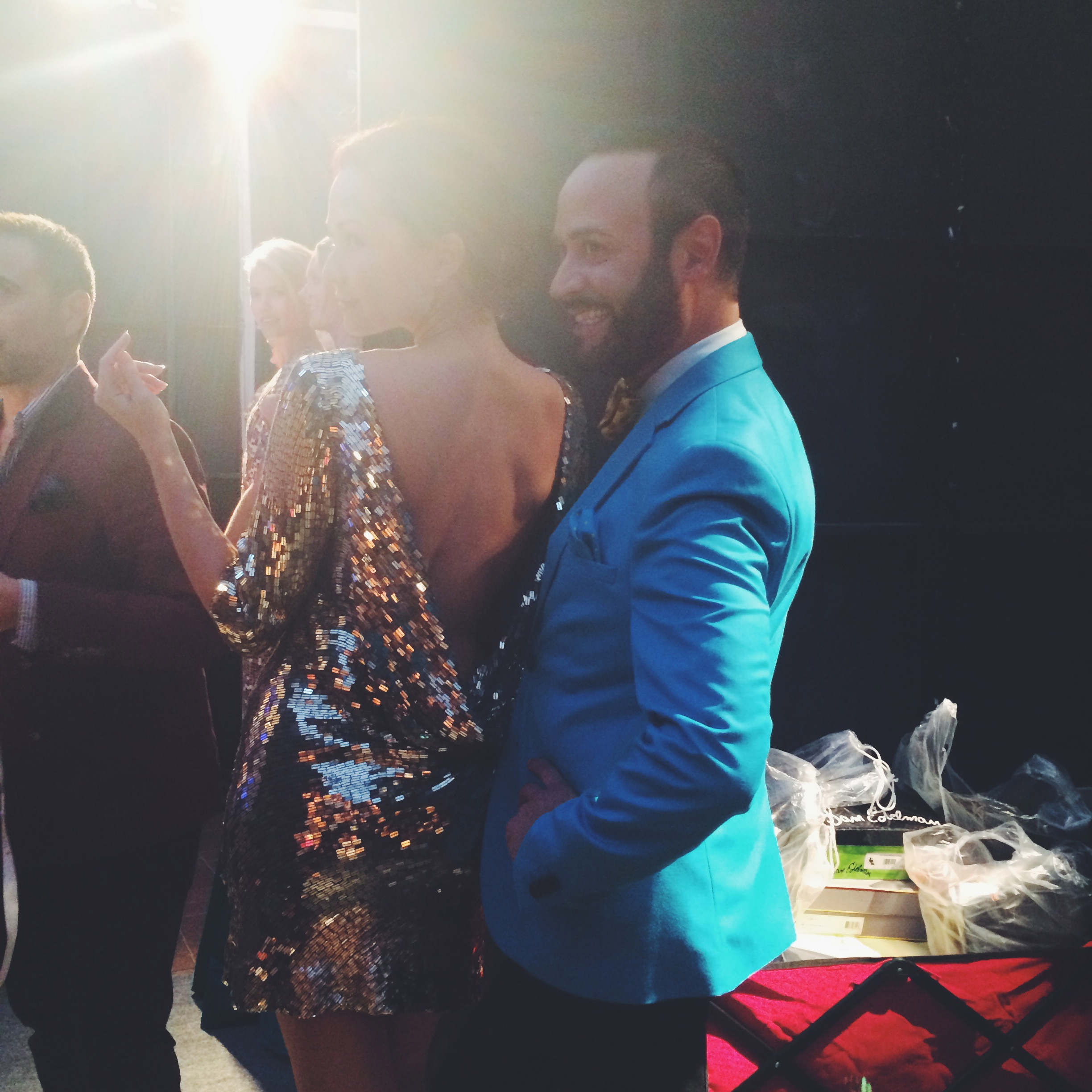 Nick Verreos and Model Backstage at Style Week OC 2014