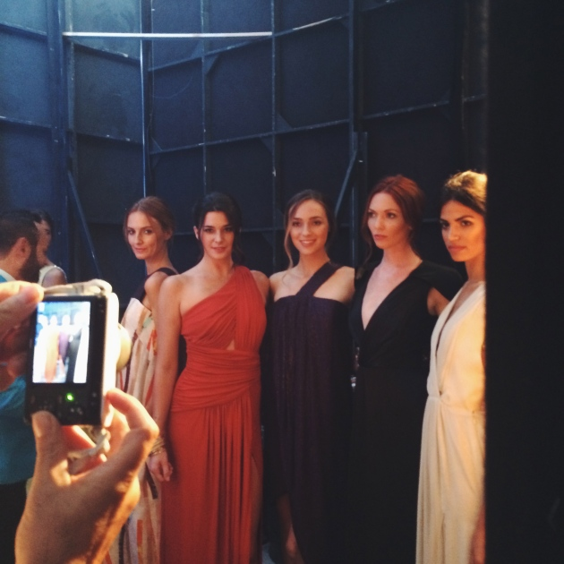 LA Models Backstage in Nikolaki Collection Gowns at Style Week OC 2014